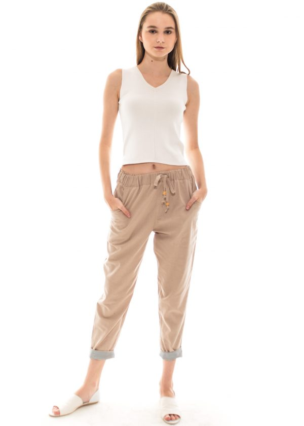 Pencil Basic Pants in Beige