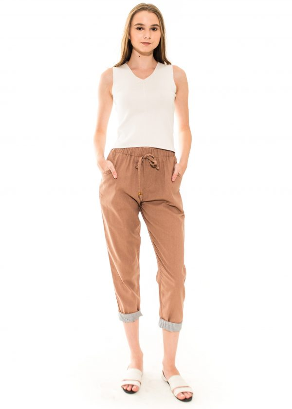Pencil Basic Pants in Brown