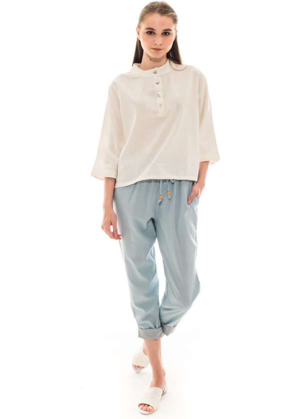 Pencil Basic Pants in Dusty Blue