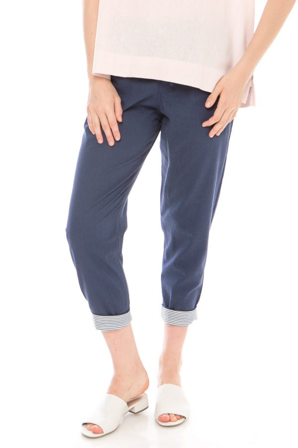 Pencil Basic Pants in Navy Blue