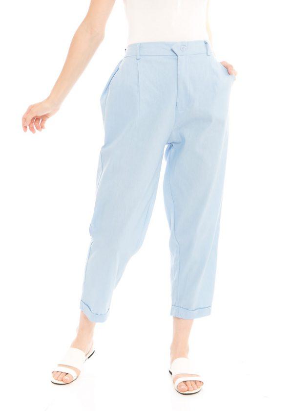 Kama Linen Pants in Light Blue