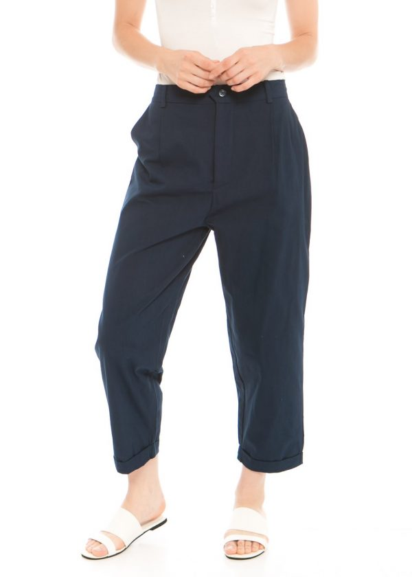 Kama Linen Pants in Navy Blue