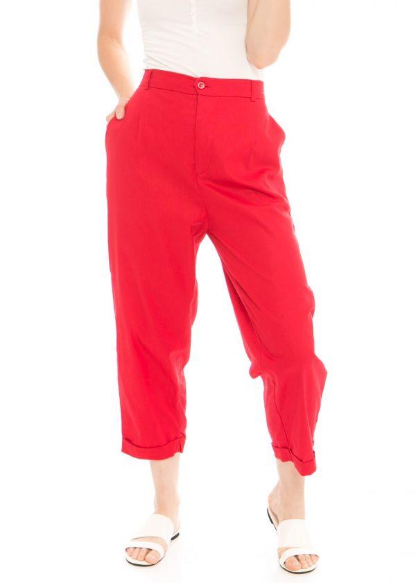 Kama Linen Pants in Red