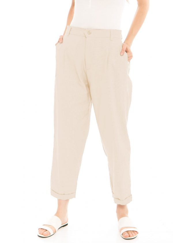 Kama Linen Pants in Beige