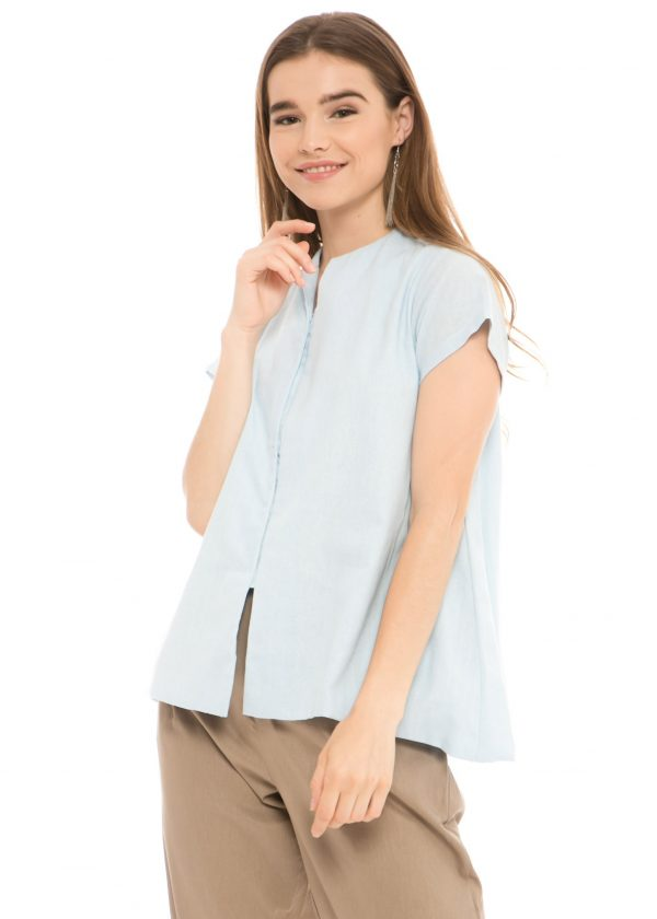 Gaura Linen Blouse in Dusty Blue