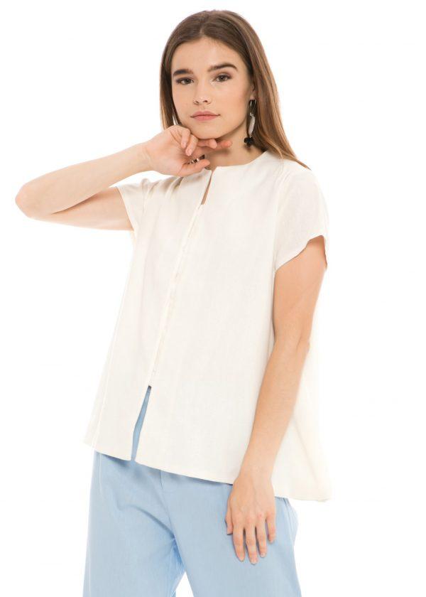 Gaura Linen Blouse in White