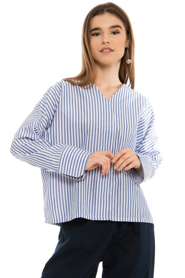 Clair Blouse in Blue Stripes