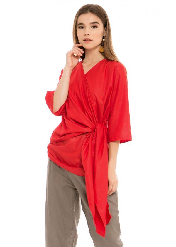 Viana Kimono Blouse in Red