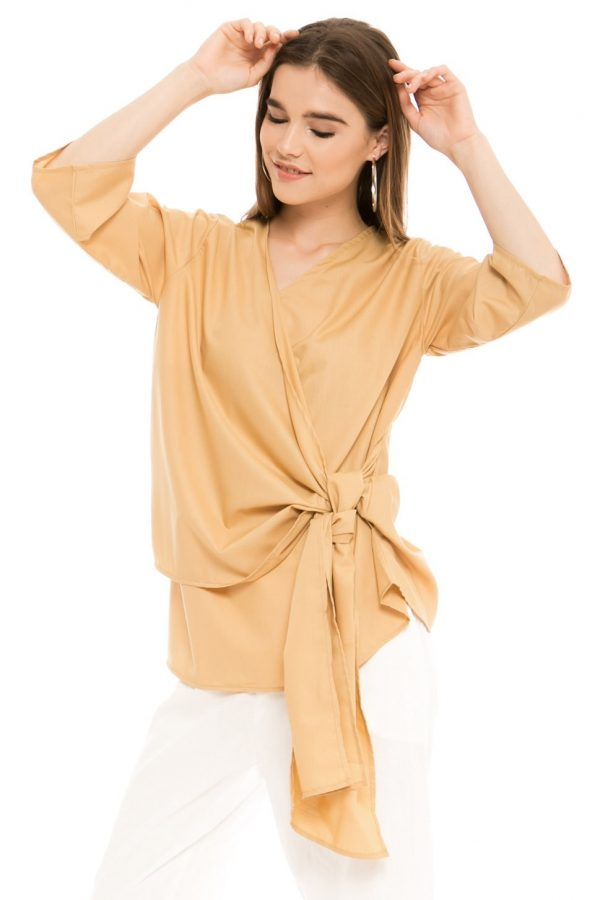 Viana Kimono Blouse in Mocha