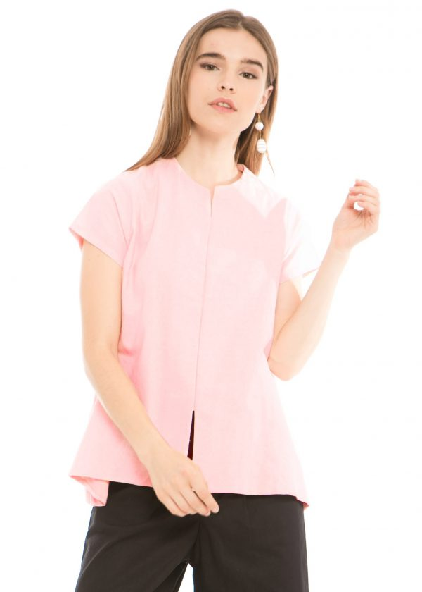 Gaura Linen Blouse in Soft Pink