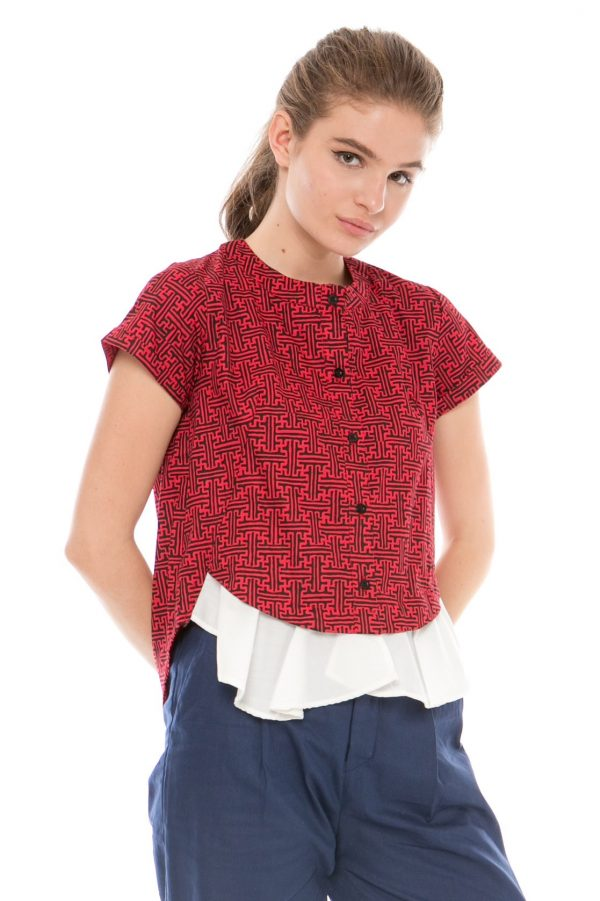 Rachel Batik Top in Benji Red