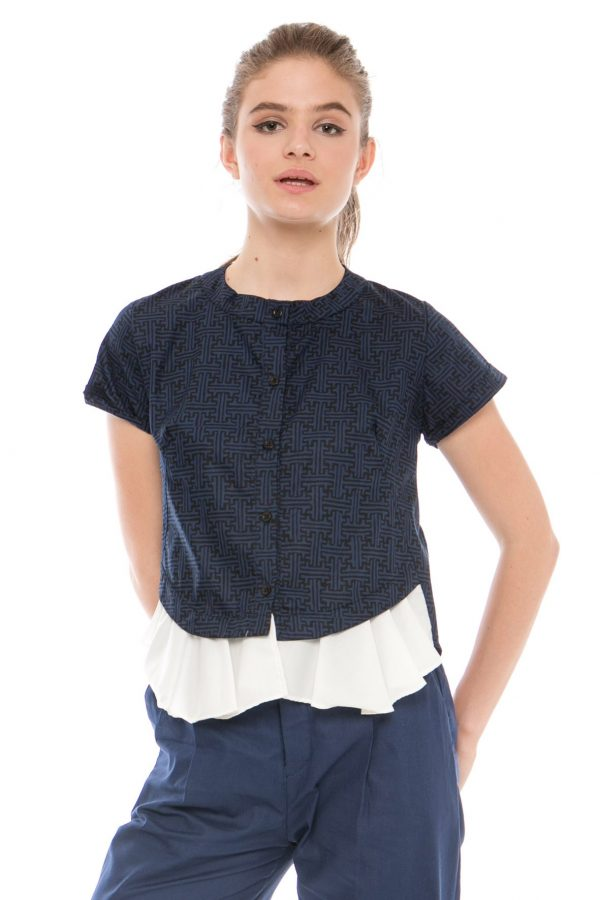 Rachel Batik Top in Benji Navy Blue