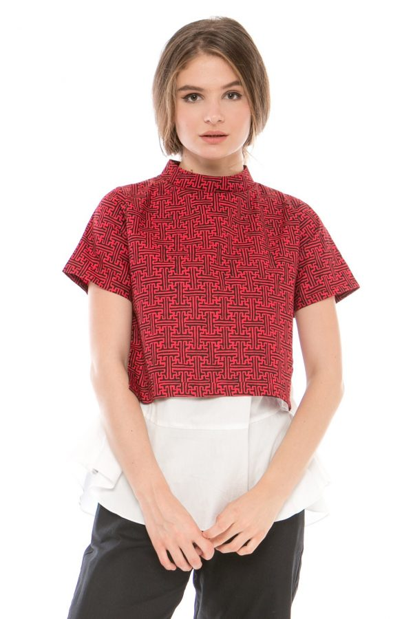 Naomi Double Layer Blouse in Red Benji