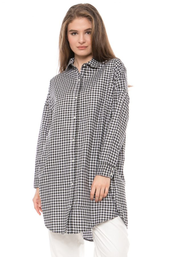 Avana Oversized Gingham Dress in Black
