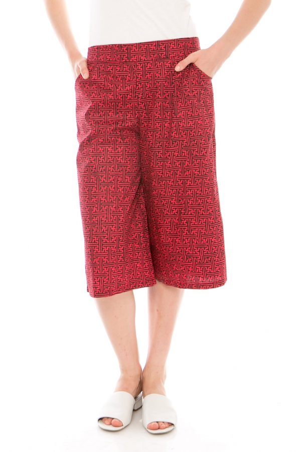 7/8 Straight Benji Culottes In Red