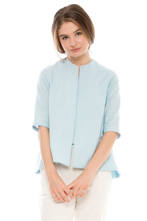 7/8 Sleeve Gaura Linen Blouse in Blue