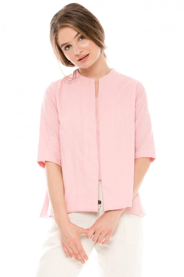 7/8 Sleeve Gaura Linen Blouse in Pink