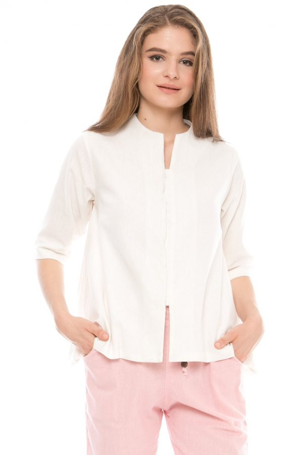 7/8 Sleeve Gaura Linen Blouse in White