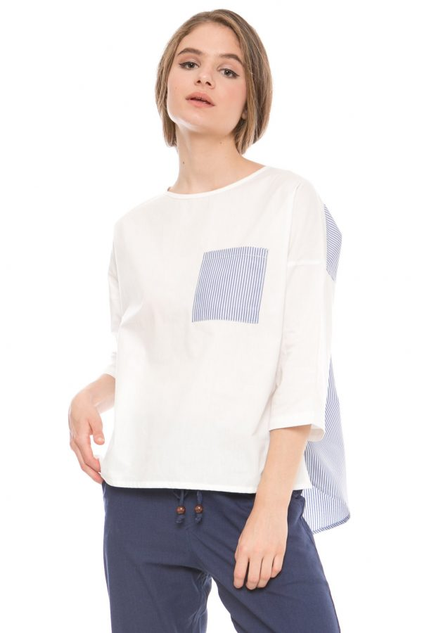 Angie Long Sleeve Blouse in White