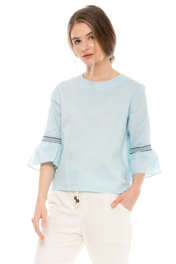 Kate Embroidery Blouse in Blue