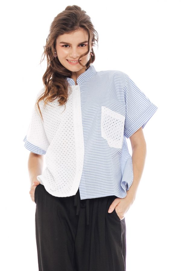 Eden Blouse in Stripe Blue