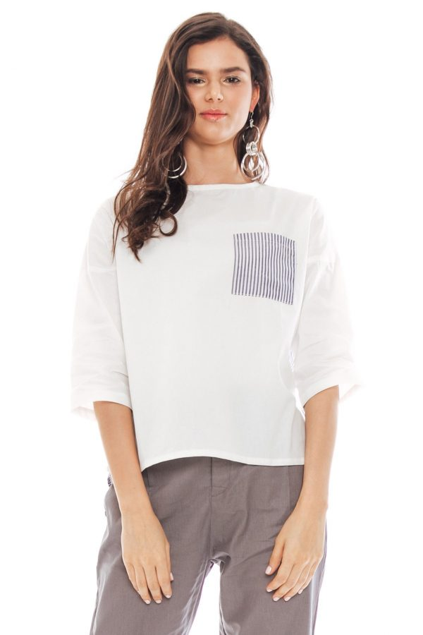 Angie Long Sleeve Blouse in Stripe Grey