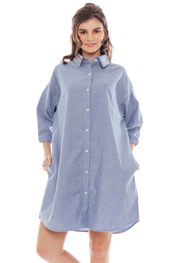 Hughes Oversized Dress in Blue Jeans