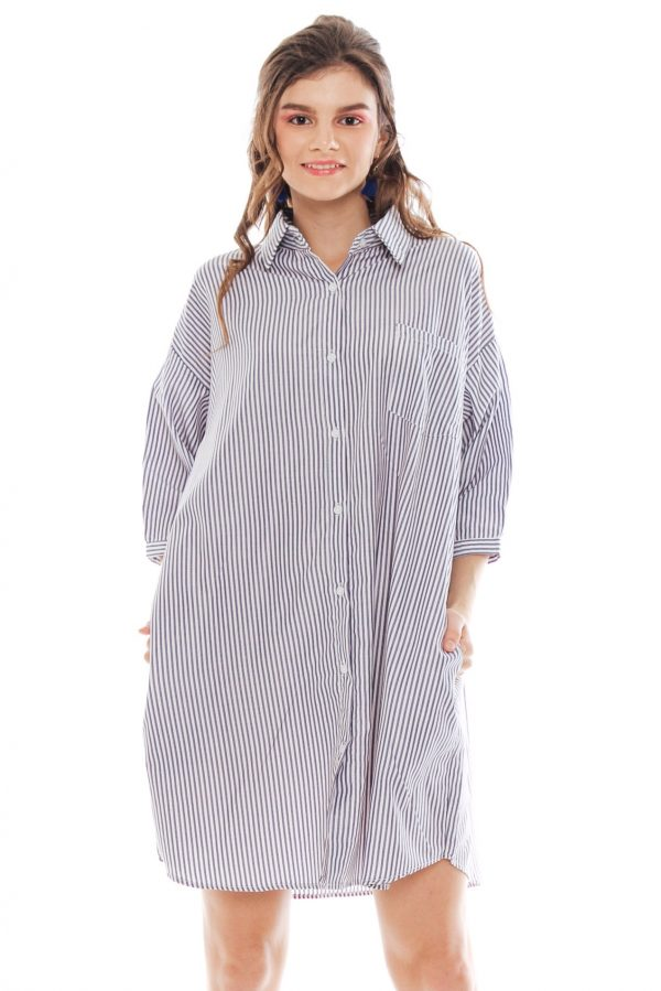 Hughes Oversized Dress in Grey Stripe
