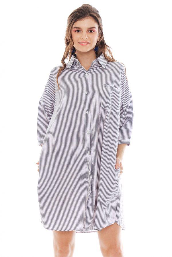 Hughes Oversized Dress in Grey Stripe