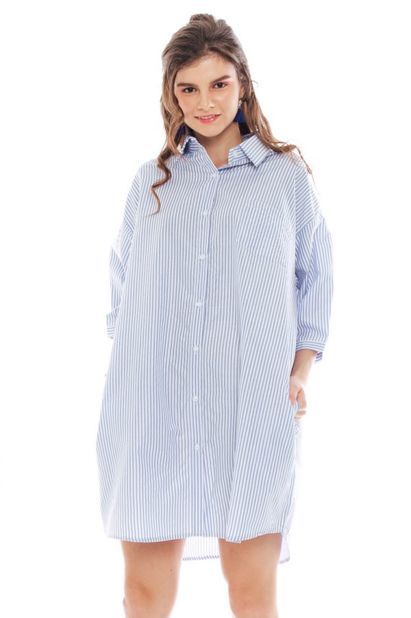 Hughes Oversized Dress in Light Blue Stripe