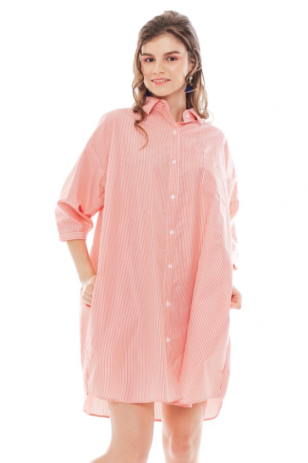 Hughes Oversized Dress in Pink Stripe