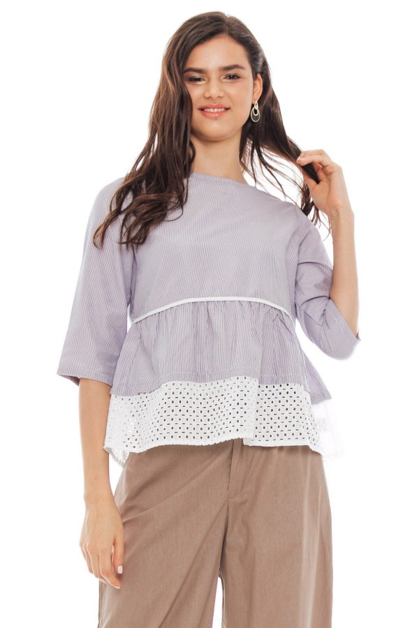 Brenda Embroidery Blouse in Stripe Grey