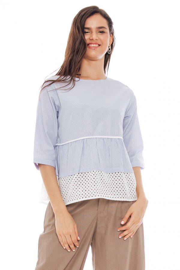 Brenda Embroidery Blouse in Stripe Blue