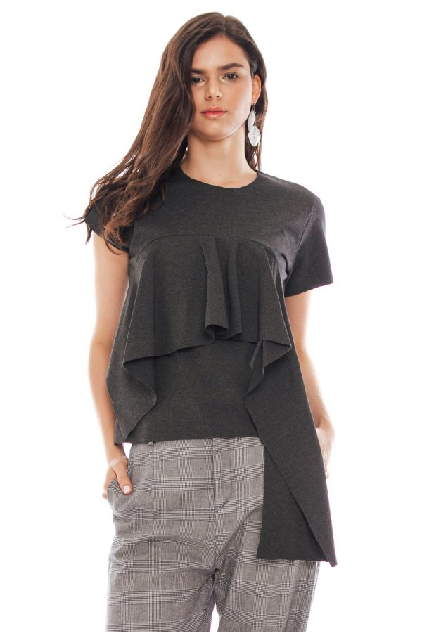 Lara Wedges Blouse in Dark Grey