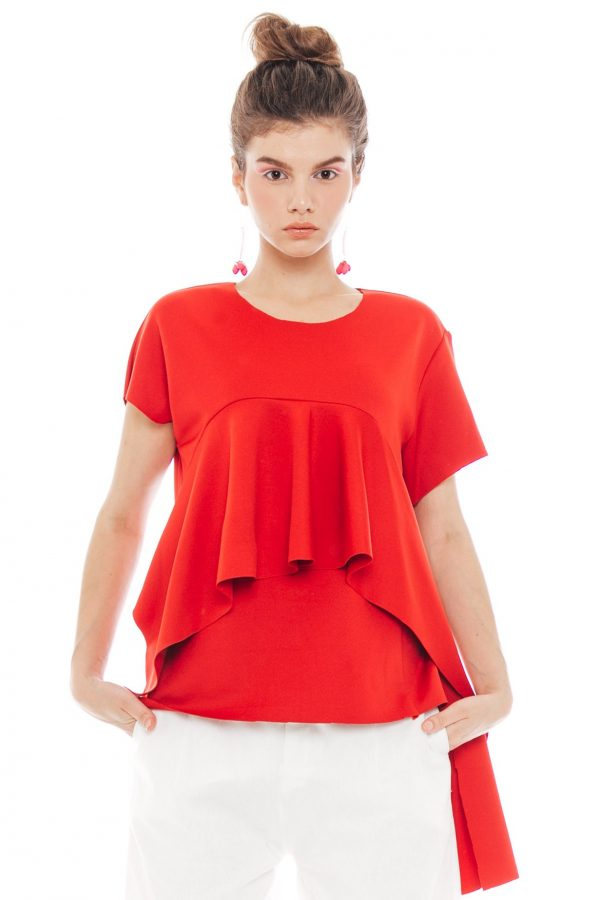 Lara Wedges Blouse in Red