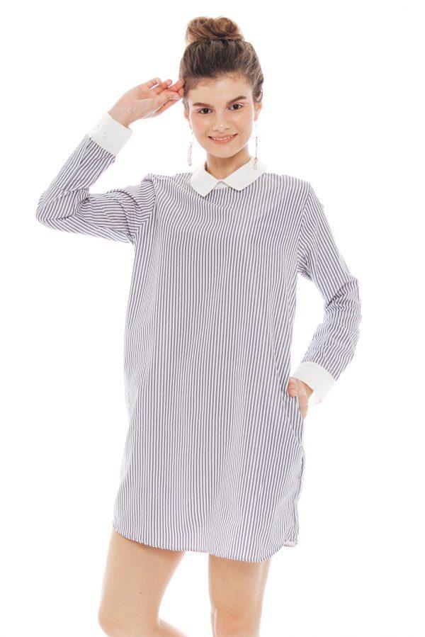 Ayuna Dress in Stripe Grey