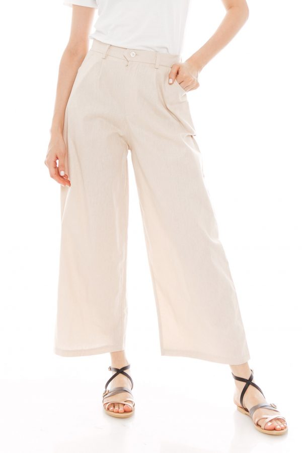 Nesha Linen Pants in Beige