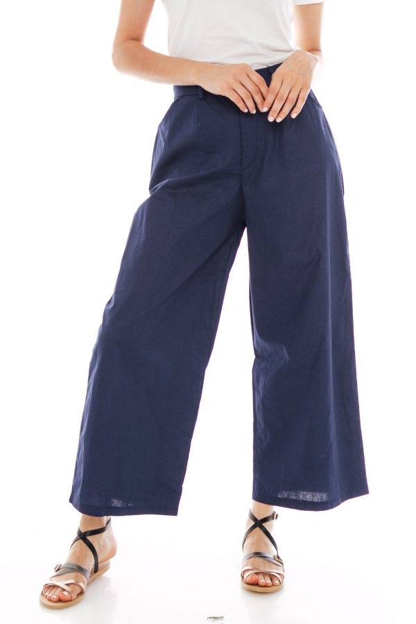 Nesha Linen Pants in Navy