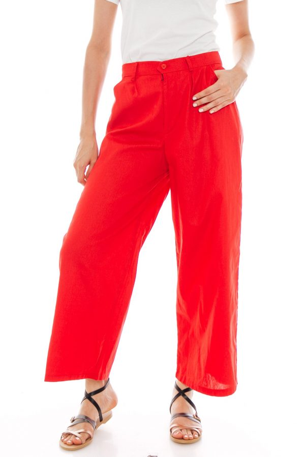 Nesha Linen Pants in Red