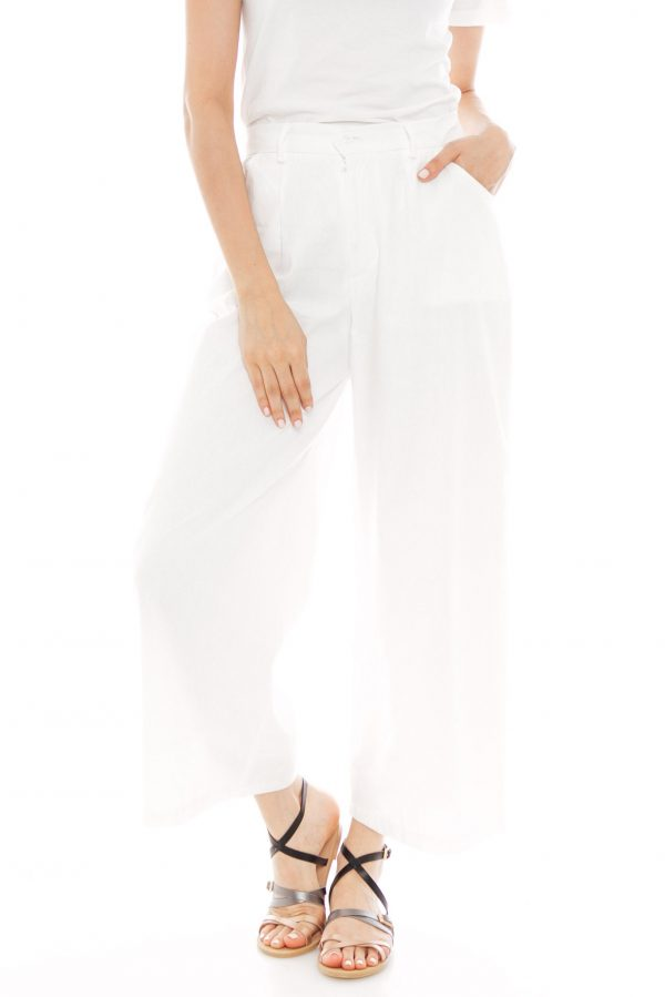 Nesha Linen Pants in White