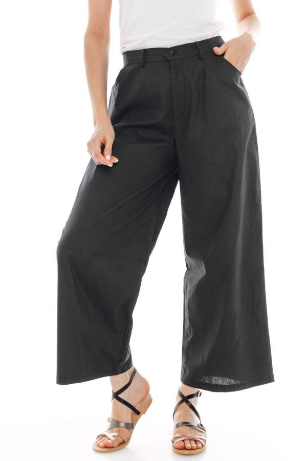 Nesha Linen Pants in Black