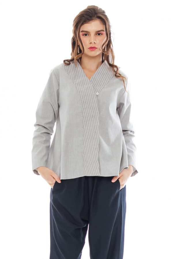 Asura Kimono Blouse in Grey