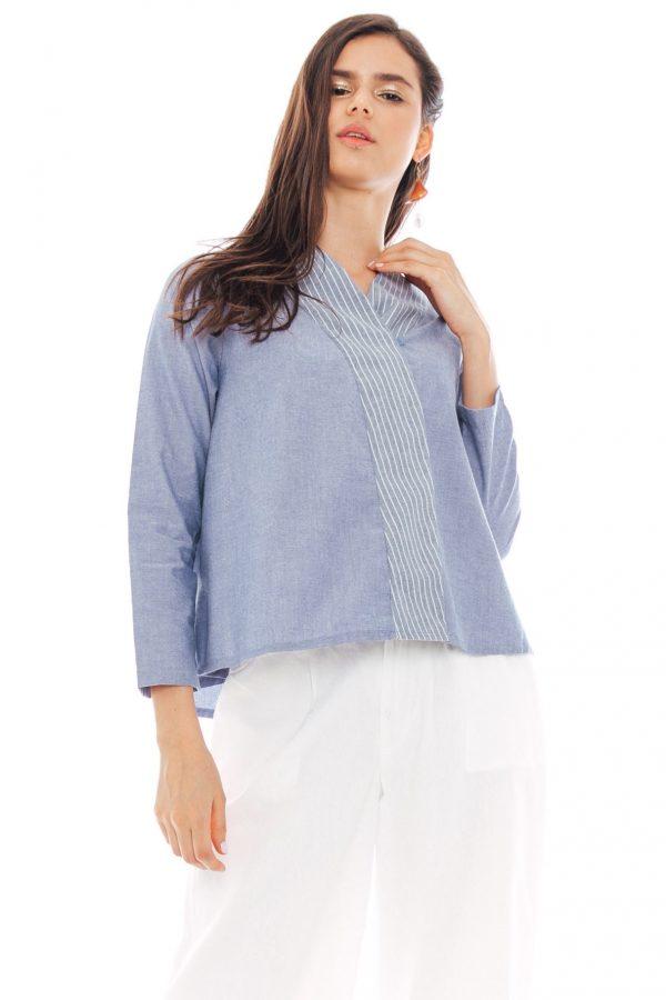 Asura Kimono Blouse in Blue Jeans