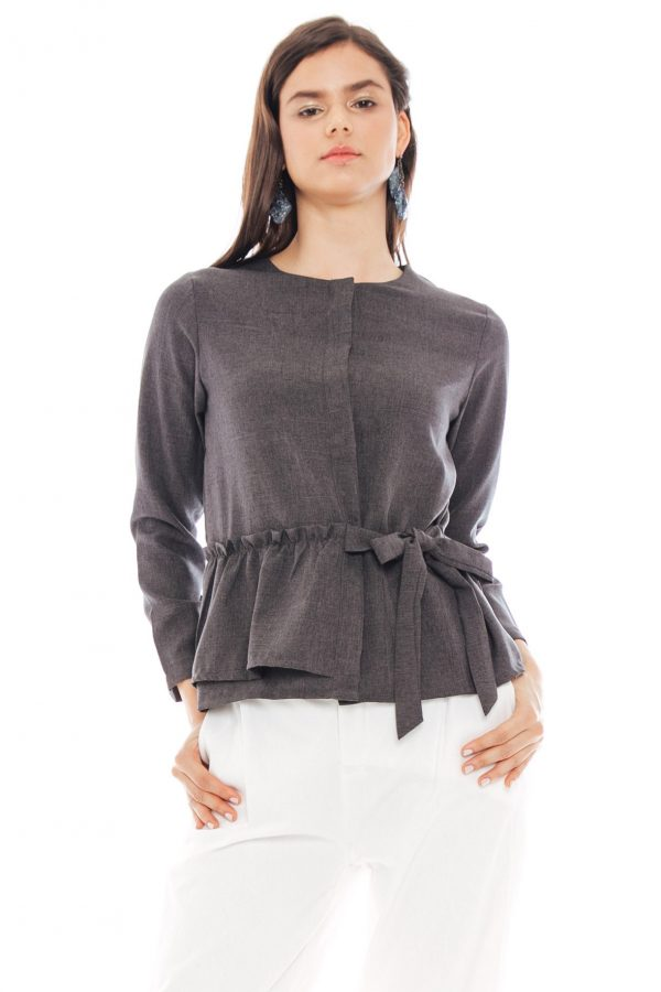 Kezia Ribbon Blouse in Dark Grey