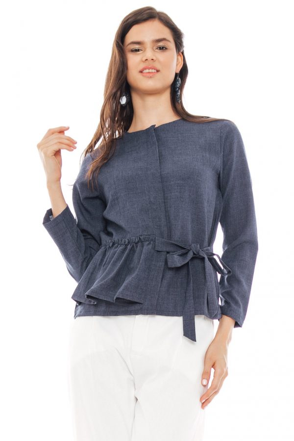 Kezia Ribbon Blouse in Navy