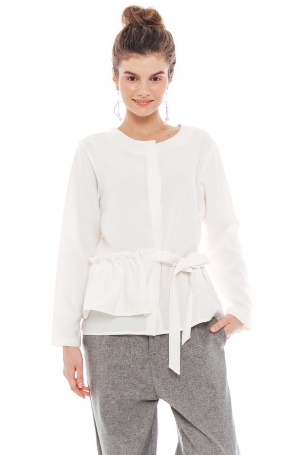 Kezia Ribbon Blouse in Off White