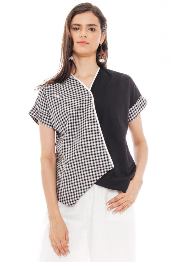 Crossed Gingham Blouse in Black