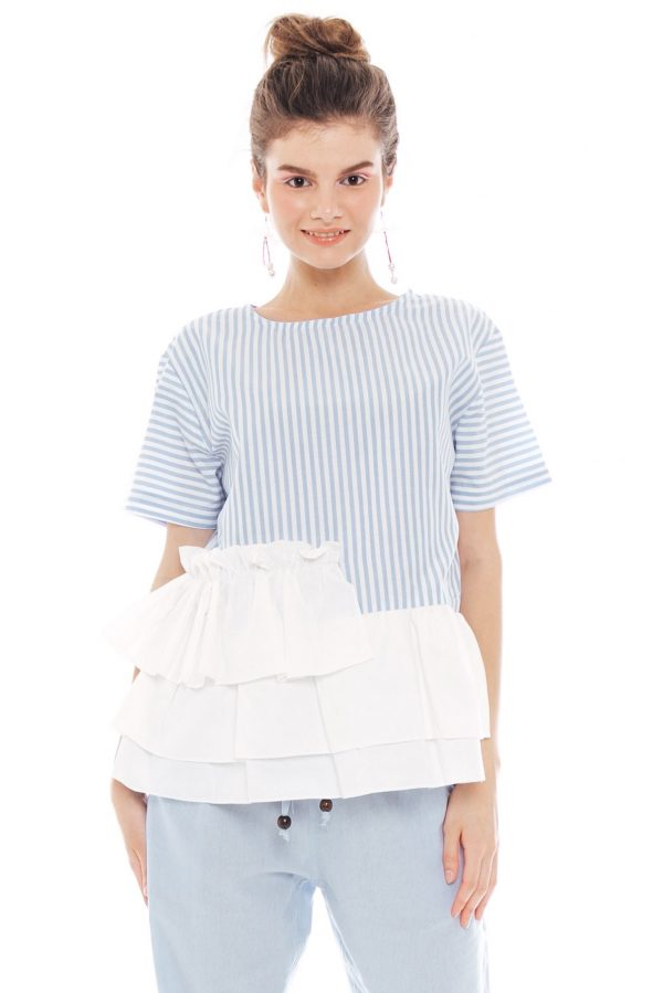 Sabrina Ruffle Top in Light Blue