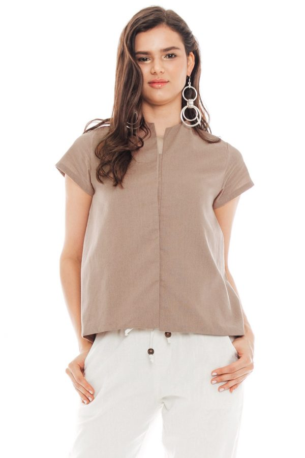 Gaura Linen Blouse in Brown