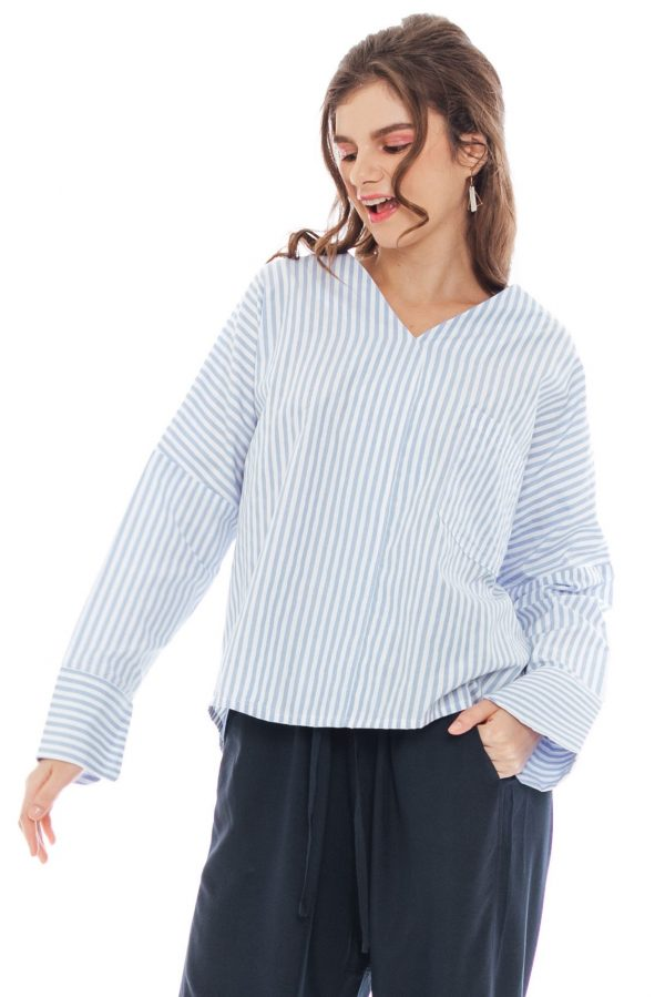 Clair Blouse in Light Blue Stripe
